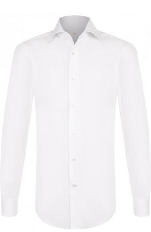 Хлопковая сорочка с воротником кент Barba. Цвет: белый