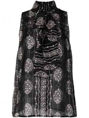 Блузка с цветочным принтом Giambattista Valli. Цвет: чёрный