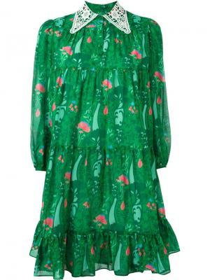Короткое платье с ажурным воротником Manoush. Цвет: зелёный