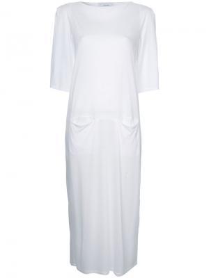 Платье-футболка с карманами спереди Facetasm. Цвет: белый