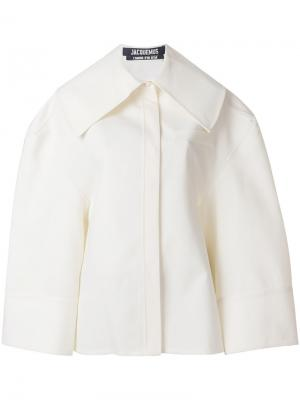 Свободная рубашка с воротником оверсайз Jacquemus. Цвет: белый