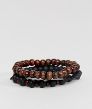 ASOS Набор черных и коричневых браслетов из бусин DESIGN. Цвет: черный
