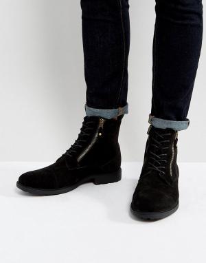 ASOS Черные ботинки со шнуровкой и двумя молниями. Цвет: черный