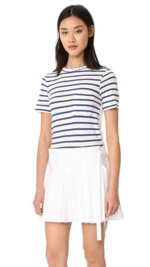 Плиссированное платье из разных материалов с лифом в виде футболки Sea. Цвет: белый/синяя полоска