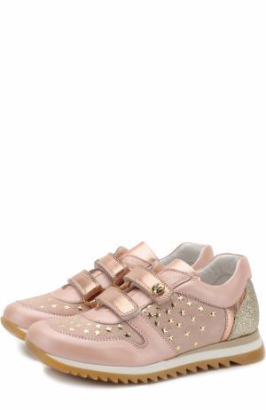 Кожаные кроссовки с замшевой отделкой и застежками велькро Missouri. Цвет: розовый
