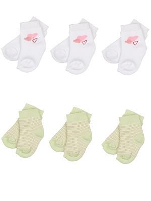 Носки детские махровые ,комплект 6 пар Malerba. Цвет: салатовый, белый