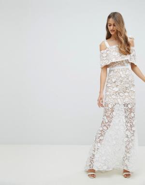 Jarlo Платье макси из вышитой сетки с завязками на плечах. Цвет: белый