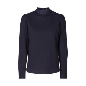 Рубашка однотонная с воротником-стойкой и длинными рукавами AND LESS. Цвет: синий морской