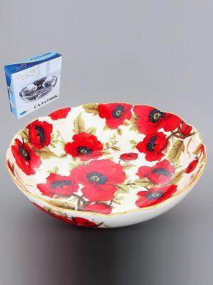 Конфетница-салатник Маки Elan Gallery. Цвет: красный, белый