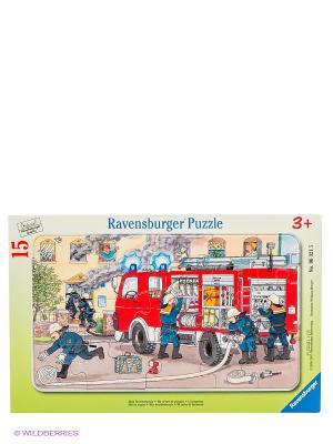 Пазл Пожарная машина, 15 деталей Ravensburger. Цвет: светло-зеленый, красный, синий