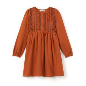Платье с вышивкой в стиле фолк,  3-12 лет La Redoute Collections. Цвет: пряно-каштановый