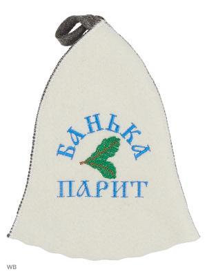 Шапка для бани с вышивкой в косметичке Банька парит Метиз. Цвет: белый, серый