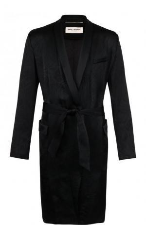 Пальто из вискозы в пижамном стиле с поясом и шалевым воротником Saint Laurent. Цвет: черный