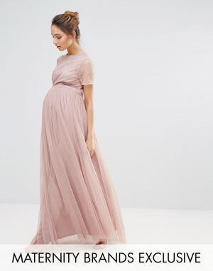 Maya Maternity Платье макси с юбкой из тюля и декорированным лифом. Цвет: розовый