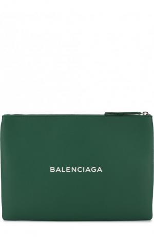 Кожаный клатч Everyday Clip M Balenciaga. Цвет: зеленый