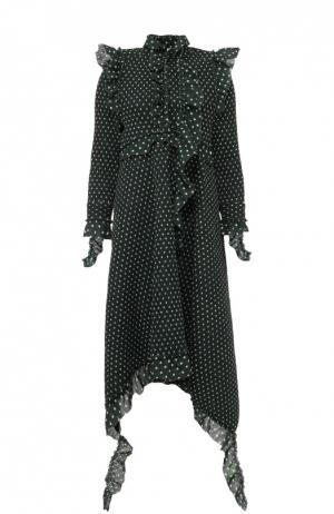 Платье асимметричного кроя в горох с оборками Vetements. Цвет: зеленый