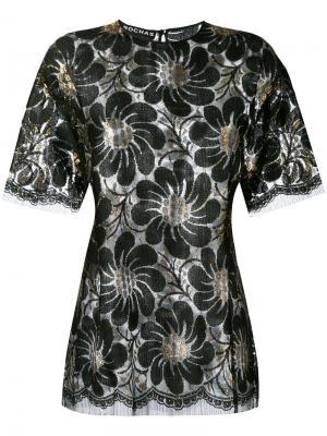 Блузка с цветочным принтом металлик Rochas. Цвет: чёрный