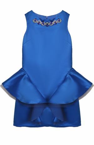 Приталенное мини-платье с декоративной отделкой и кристаллами David Charles. Цвет: синий