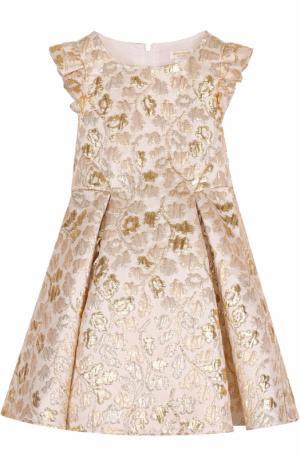 Платье-миди с металлизированной цветочной отделкой и оборками David Charles. Цвет: белый