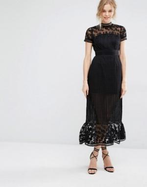 Foxiedox Платье миди с ажурным кружевом Elodie. Цвет: черный