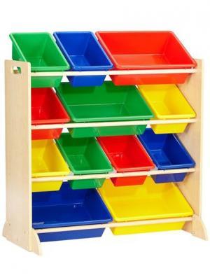 Система для хранения с 12 контейнерами KidKraft. Цвет: синий, зеленый, красный