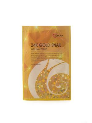 Маска для кожи вокруг глаз DIAPIA 24K GOLD SNAIL GEL EYE PATCH, 1 шт. Цвет: желтый