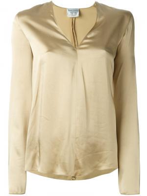 Атласная блузка Forte. Цвет: металлический