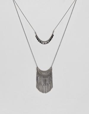 Pieces Ярусное фестивальное ожерелье. Цвет: серебряный
