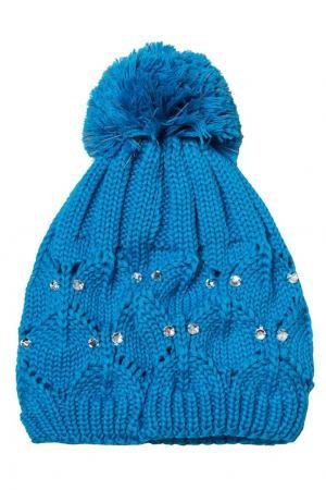 Голубая шапка с кристаллами Huppa. Цвет: голубой