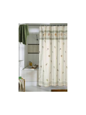 Штора для ванной комнаты 178х180см.Ракушка NIKLEN. Цвет: оливковый
