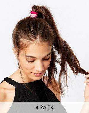 Kat&Bee Набор из четырех резинок для волос с бусиной на кольцах и черепом Kat. Цвет: мульти