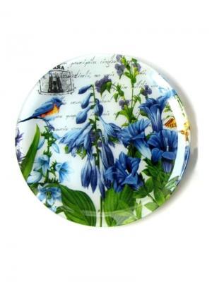 Тарелка круглая, Колокольчики, d.25 см Elff Ceramics. Цвет: синий,зеленый