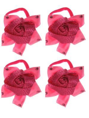 Бантики для волос на длинных резинках крупная розочка в стразиках, набор 2 по шт, розовые Радужки. Цвет: розовый