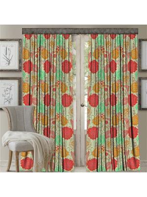 Комплект штор, Розы, печать 150*270 МарТекс. Цвет: оранжевый