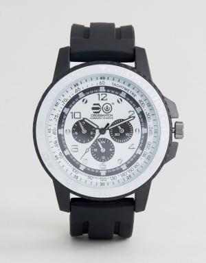 Crosshatch Черные часы с белым циферблатом. Цвет: черный