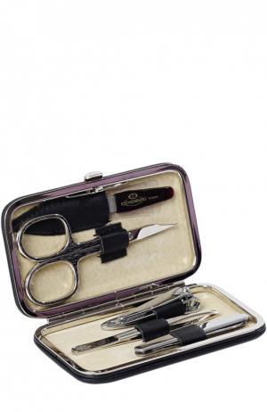 Черный маникюрный набор из 5-предметов в кожаном чехле Truefitt&Hill. Цвет: бесцветный