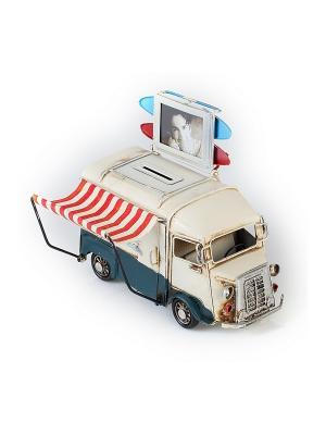 Модель Ретро Автобус белый с синим, фоторамкой и копилкой 4х5см PLATINUM quality. Цвет: белый, синий