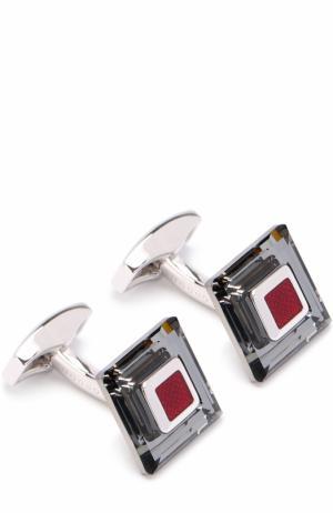 Запонки с кристаллами Swarovski Tateossian. Цвет: красный