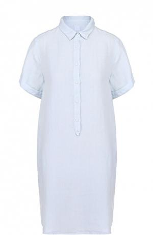 Льняное платье-рубашка с коротким рукавом 120% Lino. Цвет: голубой