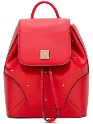 Декорированный рюкзак с заклепками MCM. Цвет: красный