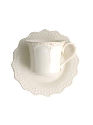 Набор чайных пар CROWNE H&H. Цвет: белый