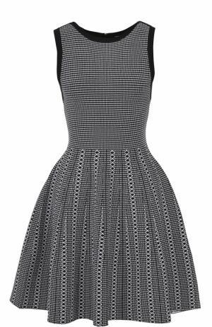 Приталенное мини-платье с пышной юбкой и контрастной отделкой Alice + Olivia. Цвет: черно-белый