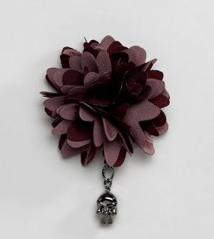 Noose & Monkey Булавка на лацкан с цветочной отделкой. Цвет: красный