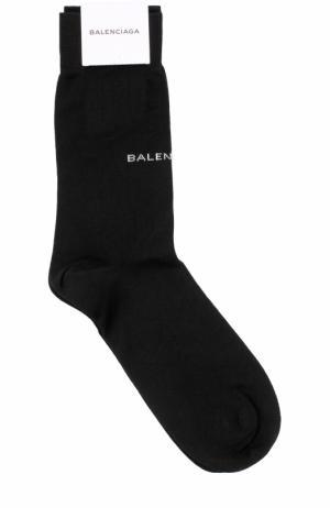 Хлопковые носки с логотипом бренда Balenciaga. Цвет: черный