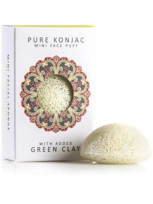 Воздушный Подарочный  Мини-спонж Конняку для лица Premium с зеленой глиной The Konjac Sponge Company. Цвет: зеленый