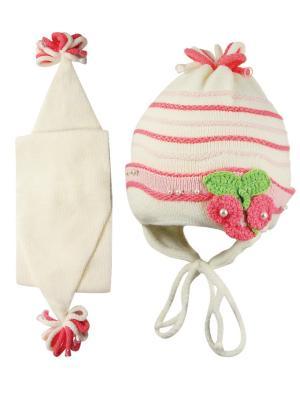 Шапка и шарф Grans. Цвет: кремовый