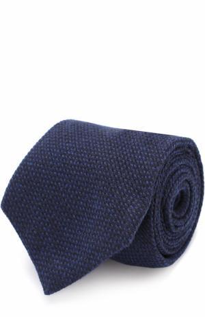 Галстук из смеси кашемира и шерсти с шелком Kiton. Цвет: темно-синий