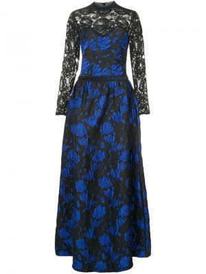 Длинное платье с кружевом и фактурным узором Tadashi Shoji. Цвет: синий