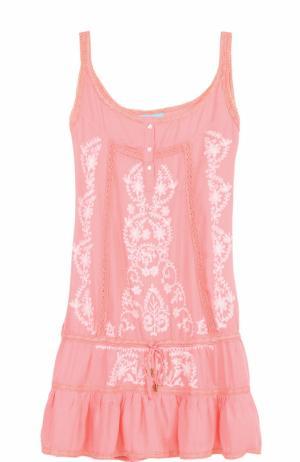 Хлопковая туника с контрастной вышивкой Melissa Odabash. Цвет: розовый
