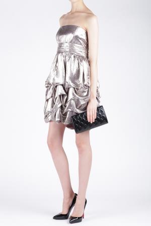 Платье из вискозы и шелка Jay Ahr. Цвет: серебристо-розовый